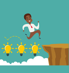 Black african american businessman running and vector