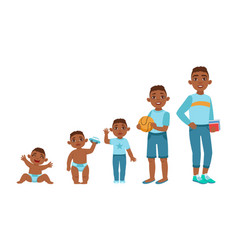 black boy growing stages with in vector image