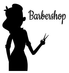 black girl silhouette of hairdresser vector image