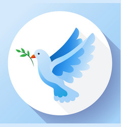 Blue dove with branch peace icon flying bird vector