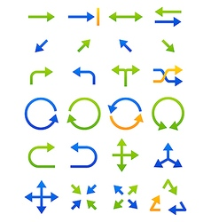 Blue green arrows icons set vector image