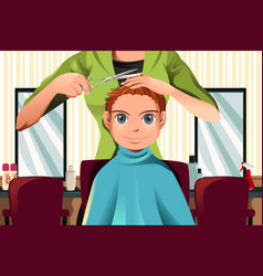 boy getting a haircut vector image
