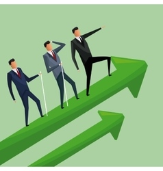 business men climbing growth arrows cooperation vector image