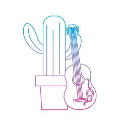 cactus with guitar mexico culture icon image vector image