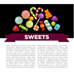 candies and sweets poster confectionery caramel vector image