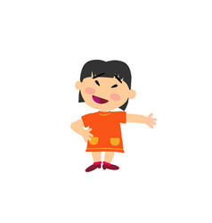 Cartoon character asian girl showing vector