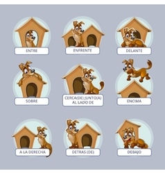 Cartoon dog in different poses to vector image