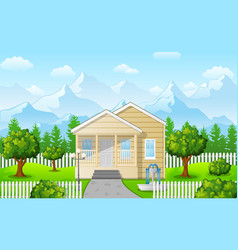 cartoon family house on mountain against sky blue vector image