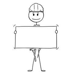 cartoon of workman or technician holding empty vector image
