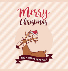 christmas and new year holiday santa claus deer vector image