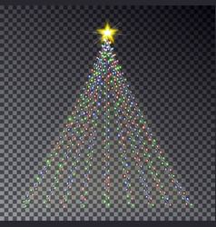 christmas light tree with garland isolated on dark vector image