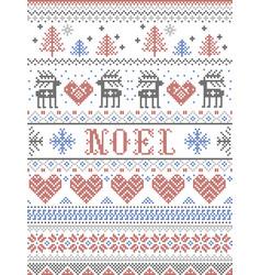 Christmas pattern noel scandinavian style in cross vector