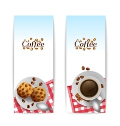 Coffee with cookies breakfast banners set vector