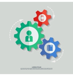 color cogwheels with man smartphone notepad vector image