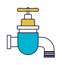Color sections silhouette of faucet icon vector