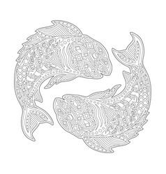 Coloring book page with zodiac sign pisces vector