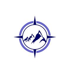 Compass mountain abstract logo icon vector