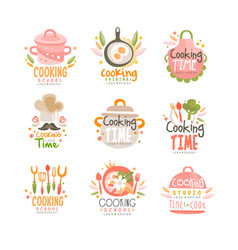 Cooking time studio logo design kitchen emblem vector