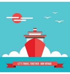 Cruise liner ship Colorful background Travel vector