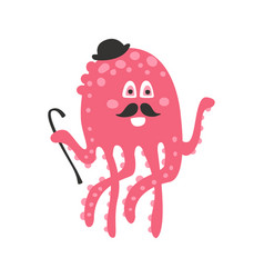 Cute cartoon pink octopus gentleman character with vector