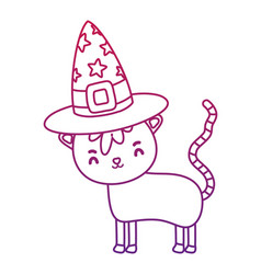 degraded outline nice cat animal with witch hat vector image