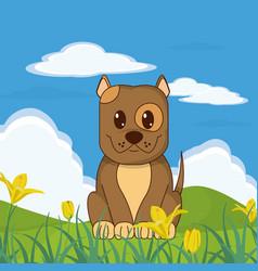 dog cute animal in landscape vector image