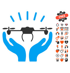 Drone launch hands icon with dating bonus vector