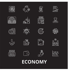 economy editable line icons set on black vector image
