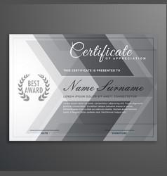 Elegant gray certificate design diploma template vector