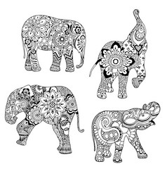 elephants ornate decorated vector image