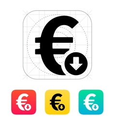 Euro exchange rate down icon vector image