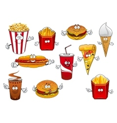 Fastfood abd takeaway cartoon characters vector