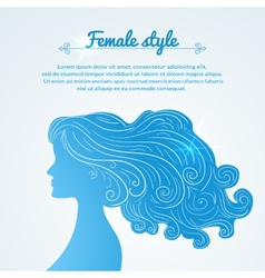 female profile with long hair and space for text vector image