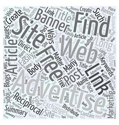 Finding Free Advertising on the Web Word Cloud vector image