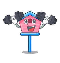 Fitness cartoon little bird house in spring vector