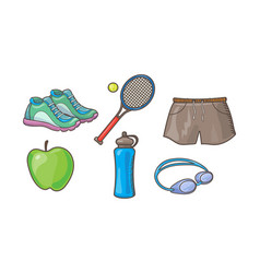 fitness sport icons set tennis racket ball vector image