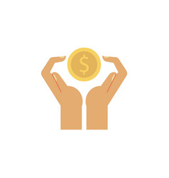flat man or woman hands holding golden coin vector image