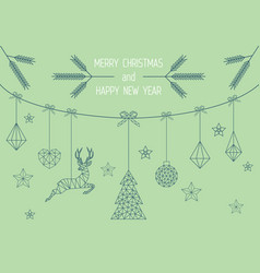 geometric christmas card mint green design vector image