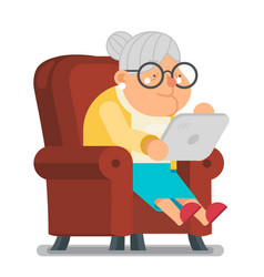 Granny with tablet internet surfing fun education vector