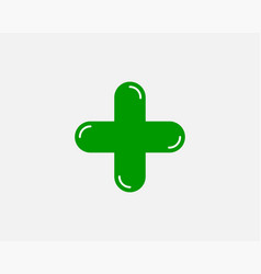 green plus sign icon cross symbol safety vector image