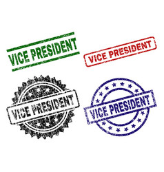 Grunge textured vice president stamp seals vector