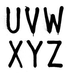 Hand written graffiti font type alphabet part 4 vector image