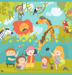 Happy children in zoo with wild african animals vector