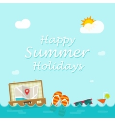Happy summer holiday traveler things vector image