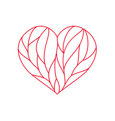 Heart composition divided with red lines on white vector