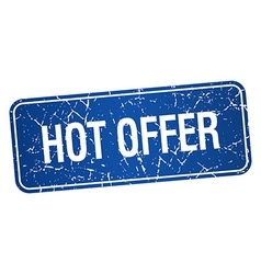 Hot offer blue square grunge textured isolated vector