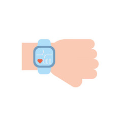 Isolated smartwatch and heart pulse icon flat vector