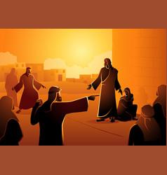 Jesus forgives adulterous woman vector