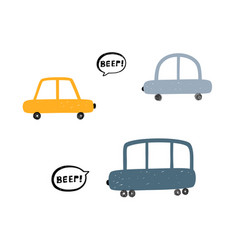 kids with hand drawn cute cars beep vector image