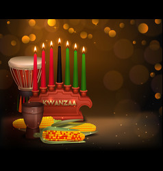 Kwanzaa kinara background colorful composition vector